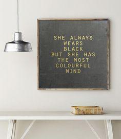 Edler Print mit goldener Schrift: Das Mädchen, das immer Schwarz trug / golden typo print: wear all black made by goodgirrrl via DaWanda.com