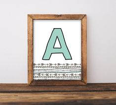 Arrows Nursery Wall Art Printable, Tribal Coral & Mint Baby Name Letter Initial, Shower Decor Gift Personalized, Gender Neutral, Peach Green