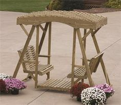 Amish Pine Rollback Double Lawn Glider Bench with Roof