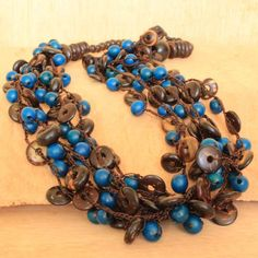 Coconut Shell Necklace Multi Strand Beaded by ArtisansintheAndes