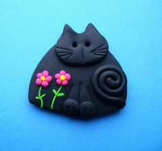Fimo Polymer Clay Black Cat with Pink Flowers Brooch Pin or Magnet via Etsy