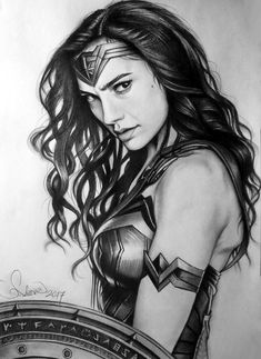 Pencil Drawing Of Gal Gadot As Wonder Woman By Serkanpainter Artist Wonder Woman Art, Wonder Woman Kunst, Wonder Woman Drawing, Gal Gadot Wonder Woman, Wonder Women, Wonder Woman Movie, Wonder Woman Cosplay, Marvel Dc, Marvel Villains