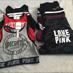 Pink bundle 3 and 3 Three bra tops 3 sweats all small one medium but fits like a small . All new with tags . PINK Victoria's Secret Other
