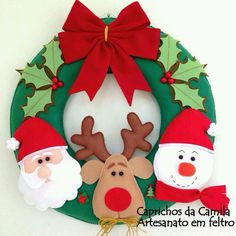 6 modelos de coronas navideñas de fieltro