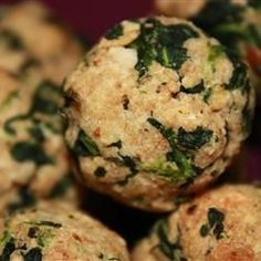 Little breaded balls of spinach and Parmesan cheese are baked in the oven until golden brown!