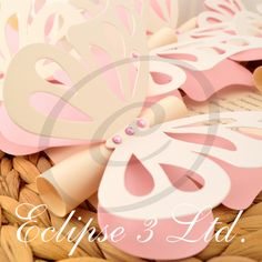 3D Butterfly theme wedding, christening, baby shower, birthay invitation in pink and ivory