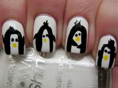 #Penguin #nails by Dori from #KissMyAcetone are love!! <3