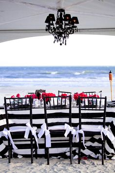 Black and white table decor, black chandelier