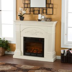 Colonial in inspiration and design, the Southern Enterprises Calvert Ivory Electric Fireplace showcases fluted columns that support the strong mantelpiece,. Decor, Brick Design, Gel Fireplace, Home Decorators Collection, Home Decor, Indoor Fireplace, Fireplace Mantels, Furnishings, Portable Fireplace