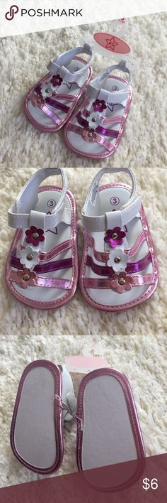 NWT baby sandals These are such cute crib shoes brand new white with pink and purple details 3 flowers down the middle Velcro closing Shoes Sandals & Flip Flops