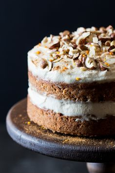 This vegan carrot cake with a cashew frosting is eggless and gluten-free but you would have never guessed. It has a healthier, oil-free cashew frosting.