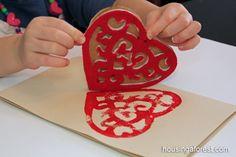 Simple Valentines Stamp - foam shape, cardboard and a glue gun, how clever Valentine Crafts For Kids, Valentines Day Activities, Crafts For Kids To Make, Craft Activities For Kids, Valentine Day Crafts, Love Valentines, Homemade Stamps, Homemade Cards, Crafty Kids