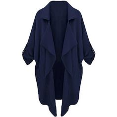 Choies Navy Lapel Roll Up Sleeve Open Front Trench Coat