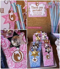 Cowgirl Western Party Printables  Pink Brown by PressPrintParty, $15.00