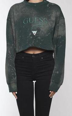 53731b18cd788 Vintage Guess Crop Sweatshirt - charcoal green
