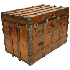 Antique and Vintage Trunks and Luggage - For Sale at Old Trunks, Vintage Trunks, Trunks And Chests, Vintage Suitcases, Antique Trunks, Wooden Trunks, Trunk Furniture, Furniture Styles, Antique Furniture