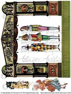 Instant Download Poupee Theater Puppet Digital Collage Sheet Model Toy Paper Vintage Reproduction