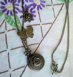 Rose Garden  Emossed Antiqued Bronze Pocket Watch by ihcharms