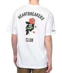 The Heartbreakers Co Tee From Primitive Features A Bold P In Black With Red Rose Threaded Thru Club Above And Below On