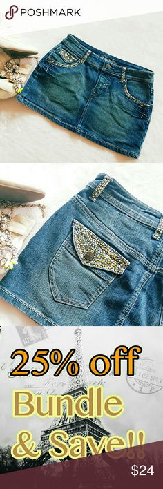 Denim Blue Jean studded Mini Skirt Size 26 small 5 Ladies I don't need many words for this this skirt speaks for itself is stunning Skirts Mini