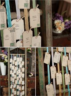 Vintage escort cards hung from a shabby chic ladder from Vintage Ambiance See more on The Wedding Chics. Tracie Howe Photography.