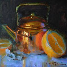 "Daily Paintworks - ""Copper and Orange"" - Original Fine Art for Sale - © Elena Katsyura"