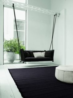 with a twist: A Unique Furniture Piece: Indoor Swing. Perfect idea for a front or back porch too Swing Indoor, Indoor Hammock, Lawn Swing, Diy Swing, Indoor Outdoor, Hanging Furniture, Unique Furniture, Hanging Chairs, Swing Chairs