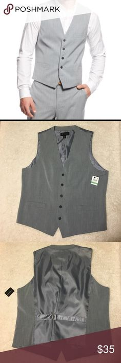 NWT International Concepts Marrone Gray Vest Pull together an impeccably tailored look with this dapper blazer from Inc International Concepts. INC International Concepts men's vest. Regular fit. One chest welt pocket; two lower flap pockets. Five-button front. Fabric Content: Polyester/rayon/spandex. Product Care: Dry clean. Color: gray INC International Concepts Suits & Blazers Vests