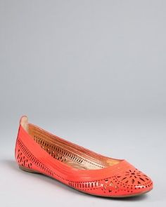 BELLE by Sigerson Morrison - neon coral laser cut patent leather 'Andromeda' flats