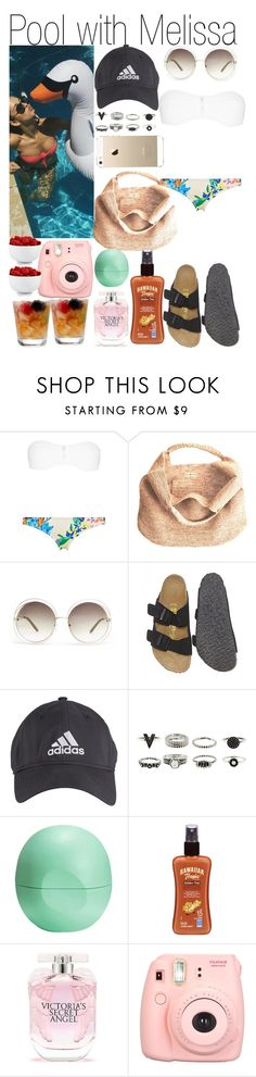 """""""Pool with Melissa"""" by kiksfashion ❤ liked on Polyvore featuring Flora Bella, Chloé, Birkenstock, adidas, Eos, Hawaiian Tropic, Victoria's Secret, The Cellar, women's clothing and women's fashion"""