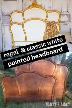 My client wanted a pure white trimmed in brilliant gold and this raw wooden headboard was just too dark for home decor. If you've like to learn how to paint your own headboard and makeover your bedroom, click over to the blog at traceysfancy.com to get the chalk paint supply list. This is a simple makeover, but using the right products will make all the difference in a successful DIY project. Trust me! I've been painting furniture for years so I know what products work well, I'll teach you… Painted Headboard, Painted Armoire, Headboard Makeover, Headboard Ideas, Diy Furniture Projects, Furniture Makeover, Diy Projects, Painting Furniture, Diy Painting