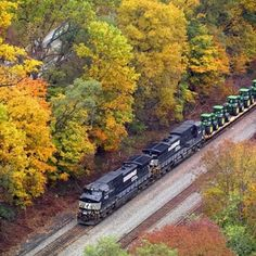 Norfolk Southern freight against the fall colors of Virginia
