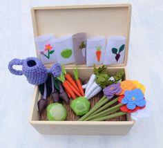 Felt Fabric Vegetable Garden Play Set Toy MiniGarden by Florfanka