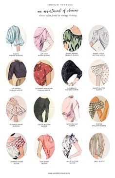 16 Different Types of Sleeves Often Found in Vintage Clothing Who knew there were so many different types of sleeves a garment could have! Here is a quick reference guide to 16 different types of sleeves often found with vintage dresses and blouses. Vintage Mode, Style Vintage, Vintage Fashion, 1950s Style, Vintage Pink, Fashion Design Inspiration, Mode Inspiration, Vintage Outfits, Vintage Dresses