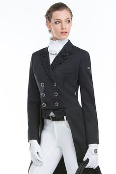 Tailcoat with decorations made with flock print. Product