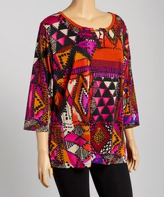 Another great find on #zulily! Wine Dot Geometric Metallic Cutout Tunic - Plus by DJ Summers #zulilyfinds