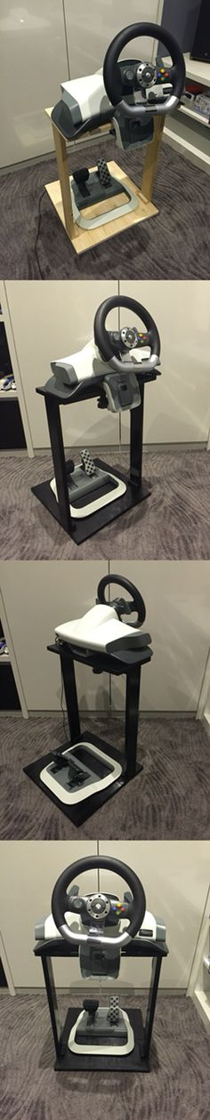 A $20 homemade steering wheel stand for Xbox.