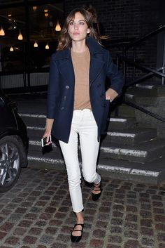 Nautic jacket, white jeans and nude sweater. #Outfit ideas