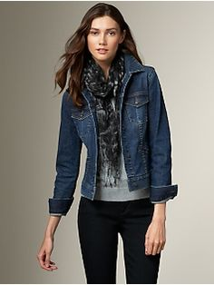 I like the denim dressed up, sort of, with the scarf~