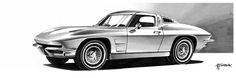 Corvette C2, Chevrolet Corvette, Car Drawings, Markers, Sketch, Cars, Vehicles, Design, Drawings Of Cars