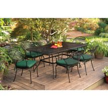 Better Homes and Gardens Clayton Court Patio Dining Set, Green, Seats 6 Discount Patio Furniture, Patio Furniture Sets, Patio Dining, Dining Set, Dining Chairs, Dining Chair Cushions, Outdoor Living, Outdoor Decor, Better Homes And Gardens