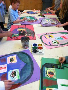 Portrait lesson: kids paint facial features on notecards, arrange them on paper, then paint face around them.