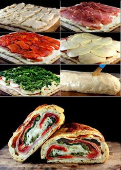 Three Cheese Broccoli, Prosciutto and Roasted Red Pepper Stromboli. Give me three cheese anything and I'm anybody's. I Love Food, Good Food, Yummy Food, Yummy Lunch, Wrap Sandwiches, Baked Sandwiches, Grilled Sandwich, Food For Thought, Food To Make
