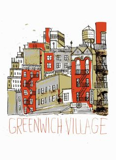 Greenwich Village illustration - part of a quest by artist James Gulliver Hancock to illustrate all the buildings in New York. Can he do it? Keep checking his website to find out!
