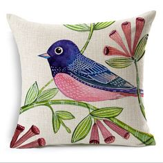 Beautiful Bird throw pillow, fresh hand-painted home decoration, with good decorative. I like the pastoral style Bird throw pillow 18 inch, PP filled with cotton, soft and comfortable. Watercolor Bird, Watercolor Paintings, Fabric Painting, Painting & Drawing, Pink Bird, Flower Bird, Bird Illustration, Bird Drawings, Bird Art