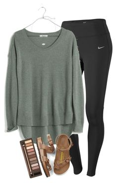 """""""school in 14 days & im freaking out"""" by elizabethannee ❤ liked on Polyvore featuring NIKE, Madewell, Kendra Scott, Urban Decay and Birkenstock"""