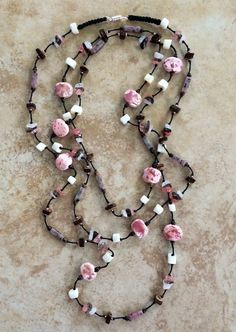 Stone Necklace Ceramic Beads Knotted Necklace Pink by FrancaandNen