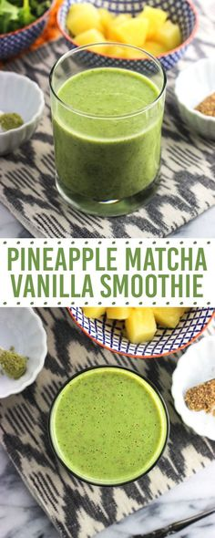 This pineapple matcha vanilla smoothie recipe features baby kale, flaxseed, and . - This pineapple matcha vanilla smoothie recipe features baby kale, flaxseed, and Greek yogurt for a - Protein Snacks, Protein Smoothie Recipes, Healthy Breakfast Smoothies, Green Smoothie Recipes, Fruit Smoothies, Healthy Drinks, Healthy Recipes, Yogurt Breakfast, Eat Breakfast