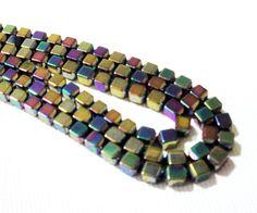 Hematite Beads, Rainbow Metallic Square from Bijibijoux
