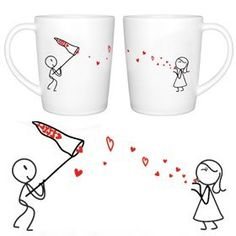 These wonderful coffee mugs would make a great gift for your sweetie, or for a happy couple in your life.